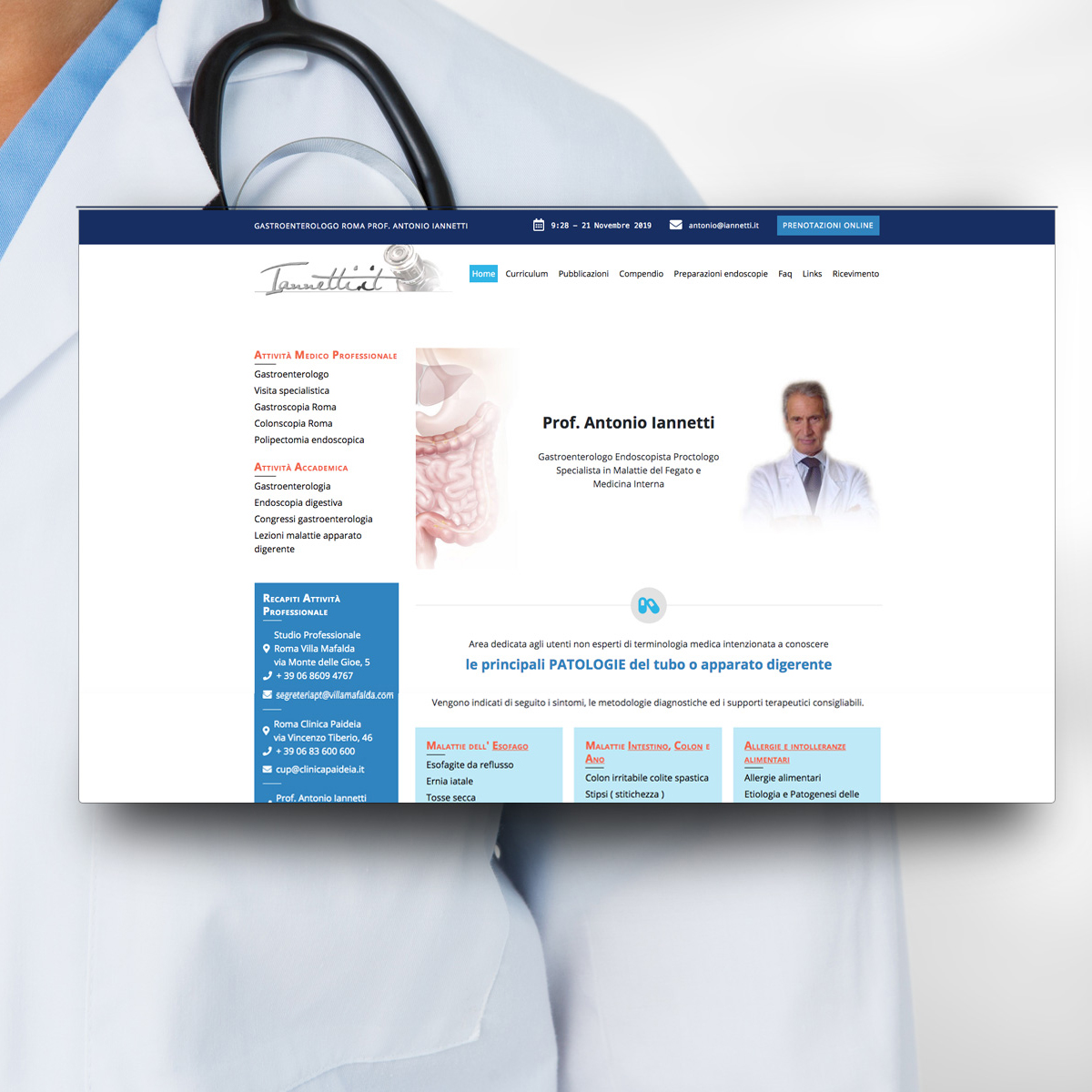 Sito Web per Gastroenterologo Prof. Antonio Iannetti