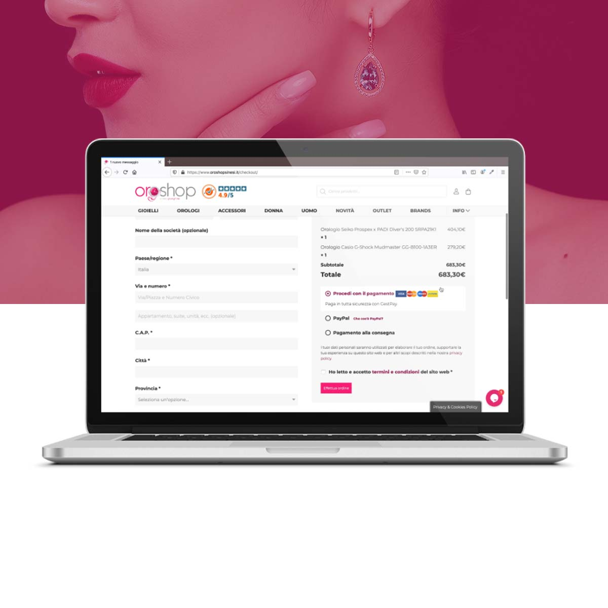 Oroshop Sinesi - Pagina check out ecommerce